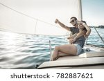 romantic couple in love on sail ... | Shutterstock . vector #782887621