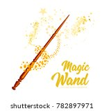 magic wand with stars on white... | Shutterstock .eps vector #782897971