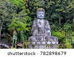 a large buddha statue sits on a ...   Shutterstock . vector #782898679