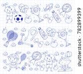 children sport. kids drawing....   Shutterstock .eps vector #782899399