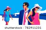 summer resort day.  two girls... | Shutterstock .eps vector #782911231
