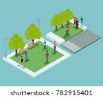 isometric people in park | Shutterstock .eps vector #782915401