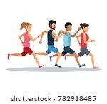 people running over white... | Shutterstock .eps vector #782918485