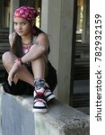 urban teen wearing a pink...   Shutterstock . vector #782932159
