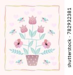 beautiful card with embroidered ... | Shutterstock .eps vector #782932381