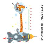 cheerful funny giraffe on space ... | Shutterstock .eps vector #782941159