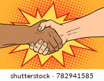handshake black and white ... | Shutterstock .eps vector #782941585
