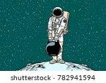 astronaut with cargo weights.... | Shutterstock .eps vector #782941594