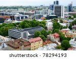 Faked tilt shift city in Estonia. Tallinn. - stock photo