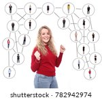people in a network web   Shutterstock . vector #782942974