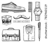 gentleman accessories. hipster... | Shutterstock .eps vector #782960119