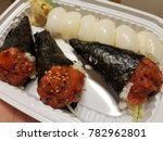 spicy tuna hand roll and squid... | Shutterstock . vector #782962801
