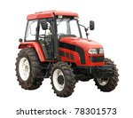 New red tractor isolated over...