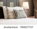 comfort pillow on bed with... | Shutterstock . vector #783027727