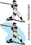 a baseball player swinging and... | Shutterstock .eps vector #783061084