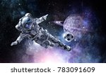 astronaut play soccer game | Shutterstock . vector #783091609