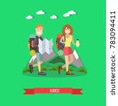illustration of hiking tourist...   Shutterstock . vector #783094411