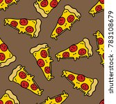 pizza seamless doodle pattern | Shutterstock .eps vector #783108679