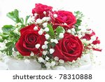 Stock photo rose bouquet isolated on white using in wedding or any greeting ceremony 78310888