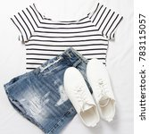 summer outfit  striped t shirt  ... | Shutterstock . vector #783115057