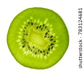 Small photo of macro top view of a actinidia kiwi fruit slice, backlight