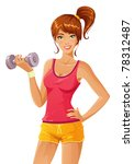 beautiful girl working out with ... | Shutterstock .eps vector #78312487