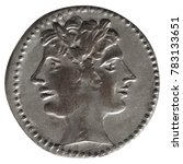 Small photo of Ancient roman coin with Janus isolated over white background