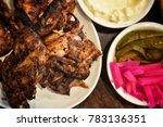whole lebanese charcoal chicken ... | Shutterstock . vector #783136351