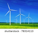 Green Meadow With Wind Turbines ...