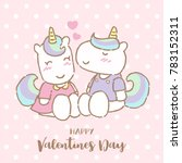 cute unicorn kissing his...   Shutterstock .eps vector #783152311