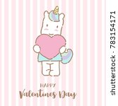 cute unicorn holding big heart...