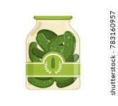pickled cucumbers in glass jar... | Shutterstock .eps vector #783160957