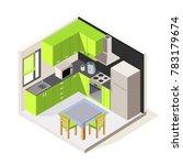 vector isometric kitchen room.... | Shutterstock .eps vector #783179674