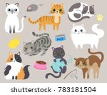 Stock vector cute kitty cat vector illustration set with different cat breeds toys and food 783181504
