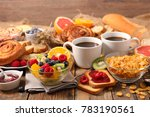 breakfast with fruit cornflakes ... | Shutterstock . vector #783190561