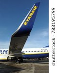 Small photo of Italt - Milan dicember 29,2017 - Ryanair airline on the Linate airstrip - low cost flight