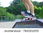 female skateboarder legs...   Shutterstock . vector #783201055