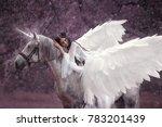 beautiful  young elf  walking... | Shutterstock . vector #783201439