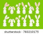 cute ostern rabbit illustration.... | Shutterstock . vector #783210175