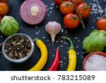 colorful spices in spoons and...   Shutterstock . vector #783215089