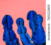 blue cactus. contemporary art. .... | Shutterstock . vector #783222805
