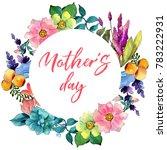 tropical flower wreath in a...   Shutterstock . vector #783222931