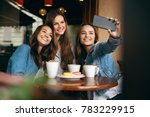 beautiful friends taking photos ... | Shutterstock . vector #783229915
