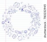 moon surface. kindergarten...   Shutterstock .eps vector #783232945