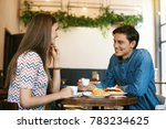 couple with coffee on date.... | Shutterstock . vector #783234625