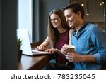 beautiful couple working on... | Shutterstock . vector #783235045