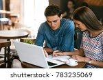 couple using computer  working... | Shutterstock . vector #783235069
