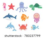 sea life  marine animals set in ... | Shutterstock .eps vector #783237799