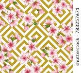 pink japanese cherry blossom... | Shutterstock .eps vector #783257671