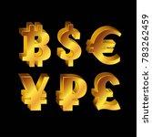 world currency  3d golden... | Shutterstock . vector #783262459
